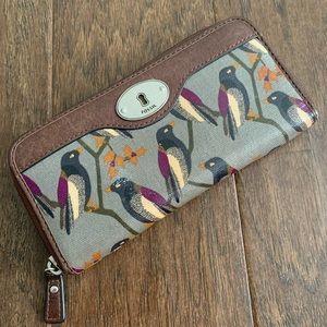 Fossil Zipper Wallet, Bird Print